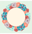 greeting card with wreath hand-drawn flowers vector image vector image