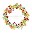 hand drawn wreath hawthorn and autumn leaves vector image