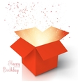 Happy Birthday Realistic Magic Open Box Magic Box vector image vector image