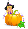 happy halloween funny girl in black hat vector image vector image