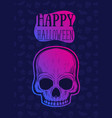 happy halloween poster banner with skull vector image vector image