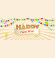 happy new year retro font with light bulbs vector image vector image