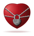 heart is wrapped with a chain and locked vector image vector image