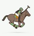 horses polo sport cartoon graphic vector image