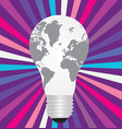 light bulb with a world map inside vector image