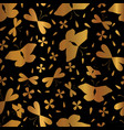 luxe copper gold on black butterflies seamless vector image