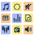 multimedia icons set with headset playlist note vector image vector image