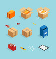 parcel post packing set vector image vector image