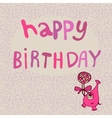 Pink monster with candy happy birthday vector image vector image