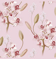 pink ochid floral pastel realistic pattern vector image vector image