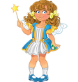 Pretty little girl with magic wand vector image vector image