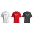 realistic t-shirt white red black on white vector image vector image