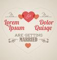 Retro Wedding invitation with hearts vector image