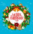 round holiday greeting with merry christmas wishes vector image