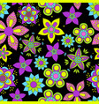 seamless pattern with flowers on black vector image vector image