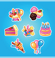 set flat stickers birthday cake with candles for vector image