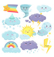 set of cute weather icons with different emotions vector image vector image
