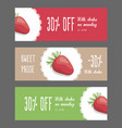 set of horizontal narrow banners with strawberries vector image vector image