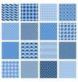 Set of seamless geometric patterns in blue vector image vector image