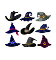 set witch hats icons wizard headwear of vector image