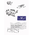 Several stamps of old air mail - Hand drawn vector image