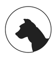 Silhouette of a dog head american pitt bull vector image