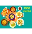 Soup and fish dishes icon for dinner menu design vector image vector image