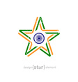 star with India flag colors symbols and grunge vector image vector image