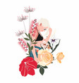 summer spring cute girk with flowers vector image