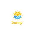 sunrise flower morning spring landscape logo vector image