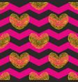 tile pattern with golden hearts and black and pink vector image
