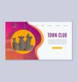 town club promo website cartoon vector image vector image