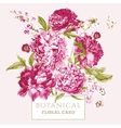 Vintage Floral Greeting Card with Blooming Peonies vector image vector image
