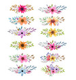 watercolor collection with leaves and flowers vector image vector image