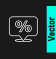 white line discount percent tag icon isolated on vector image vector image