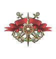 wind rose and anchor colorful nautical tattoo vector image vector image