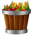 wooden basket with harvest fruits and vegetables vector image