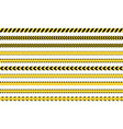 yellow caution tape sign set danger police lines vector image vector image