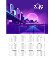2019 neon city calendar vector image vector image