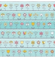 bablue background with cute flowers vector image