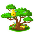 beehive on a tree with merry bees vector image