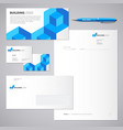 blue brick building logo and identity vector image