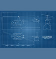 blueprint helicopter top front and side view vector image vector image