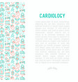 cardiology concept with thin line icons set vector image vector image