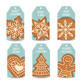 christmas labels collection with gingerbread vector image vector image