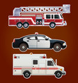 Collection of emergency cars vector image vector image