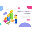 cryptocurrency exchange concept for web page vector image vector image