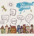 decorative sketch of city vector image vector image