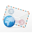 detailed envelope and globe vector image vector image