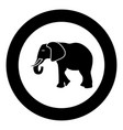 elephant icon black color in circle vector image vector image